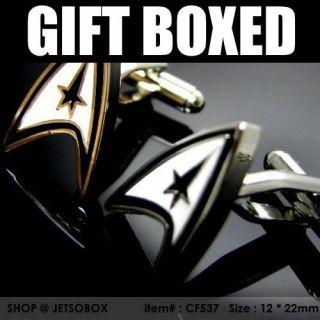 gift boxed star trek mens suit rhodium silver cufflinks from