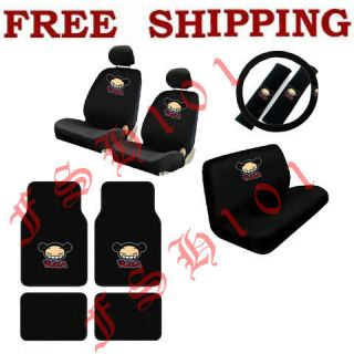 NEW 15PC SET CARTOON PUCCA CAR SEAT COVERS STEERING WHEEL COVER