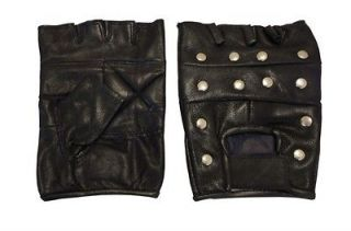 mens leather gloves fingerless motorcycle biker studded multi purpose
