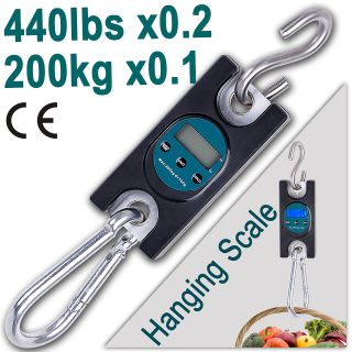 LCD 200kg Digital Hanging Scale Fishing Deli Luggage Shipping