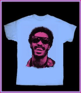 STEVIE WONDER blue T SHIRT 70s FUNK SOUL R&B RETRO MOTOWN VINTAGE ROCK