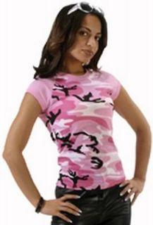 Womens PINK CAMO SHORT SLEEVE RAGLAN TEE SHIRT Clothes Hunting Store S