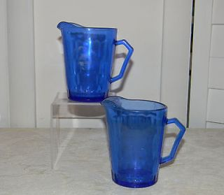 HAZEL ATLAS GLASS COMPANY COBALT BLUE SHIRLEY TEMPLE TWO CREAM