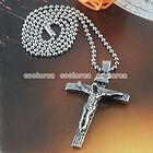 Silvery Stainless Steel Crucifixion Cross Pendant Chain Necklace