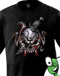 skull knife flame t shirt gothic punk emo clothing