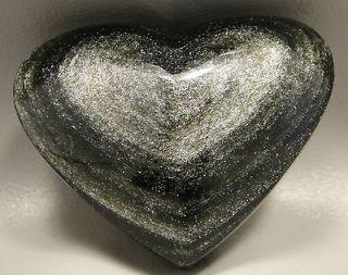 Silver Sheen Obsidian 3 inch Heart Stone Rock Gemstone 78 mm Mexico #