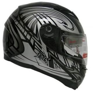 TRIBAL BLACK DUAL VISOR FULL FACE MOTORCYCLE HELMET DOT W/ SMOKE