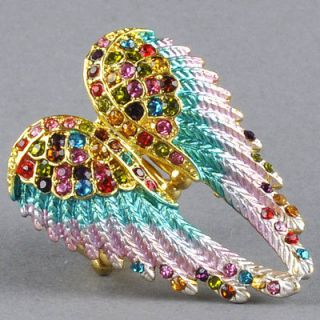 Jewelry Gold Multi Color Crystal Angel Wing Elastic Stretchy Ring