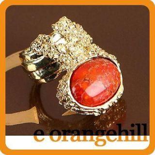 Orange Terrain Jasper Gemstone Chunky Armor Knuckle Cocktail Ring g137