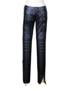 Punk Rock Gothic Black PU Leather Trousers Pants from Punk Rave S