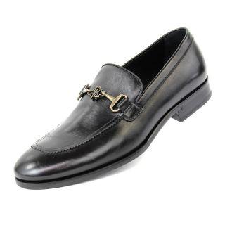 Roberto Cavalli Mens Black Dress Shoe Leather 6448 Vitellino Nero