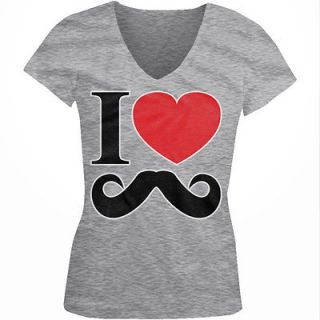 Heart (Love) Mustaches   Funny Mustache Joke Girls Junior V Neck T