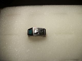 New Mens Turquoise inlay Southwest Bear Design Gold Tone Ring Size 4