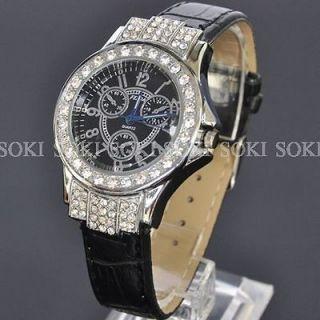 Luxury Womens Black Crystal Analog Quartz Wrist Leather Band Watch S40