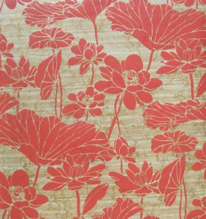 carlisle red floral on gold silver wallpaper double roll time