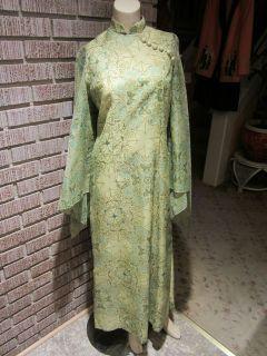 Womens Vintage 60s 70s Alfred Shaheen Metallic Huge Angel Caftan