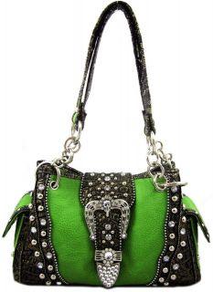 Western Cowgirl Rhinestone Belt Buckle Stud Chain Strap Purse Handbag