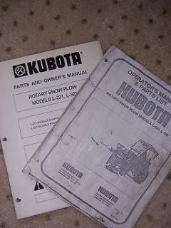 kubota l221 l321 rotary snow plow owner parts manual t