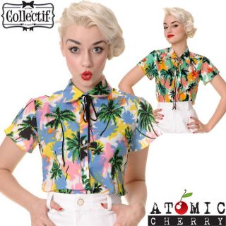 Collectif Florida Palm Top Blouse Shirt Rockabilly Pin Up Summer
