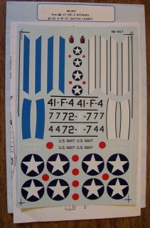 SUPERSCALE DECALS 1/48 PRE WWII F4F 3 WILDCAT VF 41/VF 72 SECTION