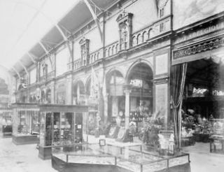 1889 photo Belgian exhibit, displaying pottery and decorative arts