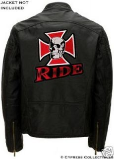 SKULL IRON CROSS BIKER PATCH embroidered LARGE RIDE IRON ON SKELETON