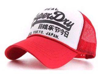 MENS WOMENS SUPER DRY MESH BASEBALL CAPS TRUCKER BALLCAP HATS RED