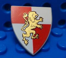 LEGO Minifig, Shield Red White Gold Knights Shield Lion Print 7946