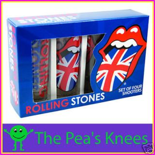 rolling stones licks flag tongue set of 4 shot glasses