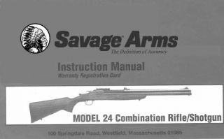 Arms Model 24 Combination Rifle Shotgun Replacement Owners Manual