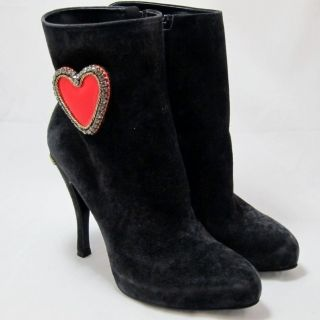 New Roger Vivier Black Suede Boots Red Hearts Shoes Size 6.5 / 36.5 K