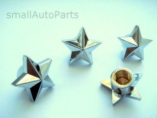 Custom Chrome Star Tire/Wheel Stem Air Valve CAPS kit set (Fits
