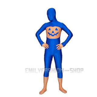 Full Body Lycra Spandex Fit Suit Halloween Pumpkin Zentai Party