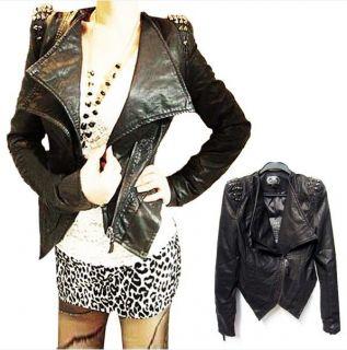 rivets Spike Studded Shoulder Synthetic Leather Slim Jacket Coat H102