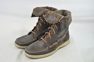 SPERRY TOP SIDER WOMENS LADYFISH DARK BROWN BOUCLE LEATHER FOLD OVER