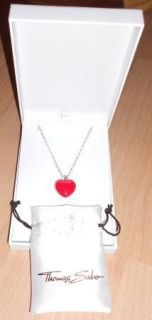 THOMAS SABO SILVER RED HEART PENDANT LOCKET NECKLACE CHAIN 14 INCHES