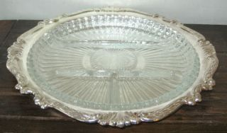 sheridan brass silver plate tray w divided glass insert time