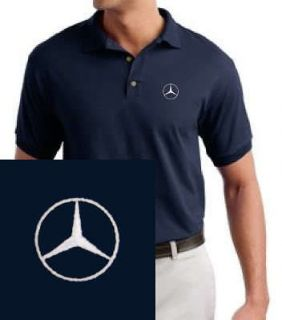 mercedes benz embroidered navy blue polo shirt more options size