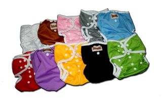 10 One Size Baby Cloth Diapers/Nappy Cover Pocket for Prefold/Inserts