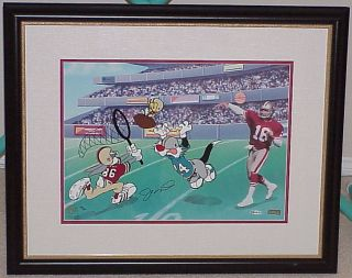 JOE MONTANA 49ers SIGNED BUGS BUNNY LIMITED EDITION CEL CATCH THE