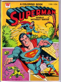 SUPERMAN COLORING BOOK, WORLD WITHOUT WATER, WHITMAN, 1980, UNUSED