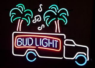 Neon Bud Light Sign   Truck, Palm Trees, Music   Budweiser Beer Bar