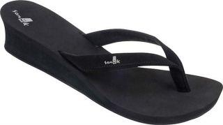 Sanuk Womens NEW Pay Raise SWS3002 BLACK Wedge Sandals Flip Flops