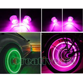 Motorcycle Wheel Tyre Tire Valve Caps Covers LED Lights Bulb Lamp Pink