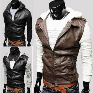 Mens Slim Top Designed Sexy PU Leather Short Jacket Coat 3color 4size