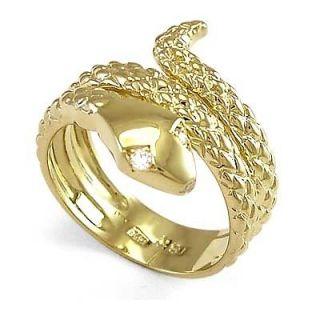men s 18k yellow gold snake diamond eye serpent ring