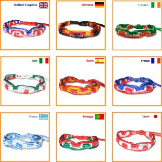 COUNTRY FLAG WRISTBAND FRIENDSHIP BRACELET ♥ SUPPORT YOUR TEAM AT