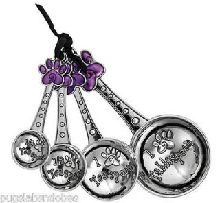 NWT BOXED DOG CAT PAW PRINT ENAMEL ZINC MEASURE SPOON SET 1 SIDED CAN