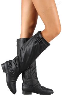 Womens Riding Boots Knee High Fashion Slouch Faux Leather Hot Stylish