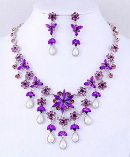 Tassel Crystal Rhinestone Imitate Pearl Beads 1Set Necklace Earrings